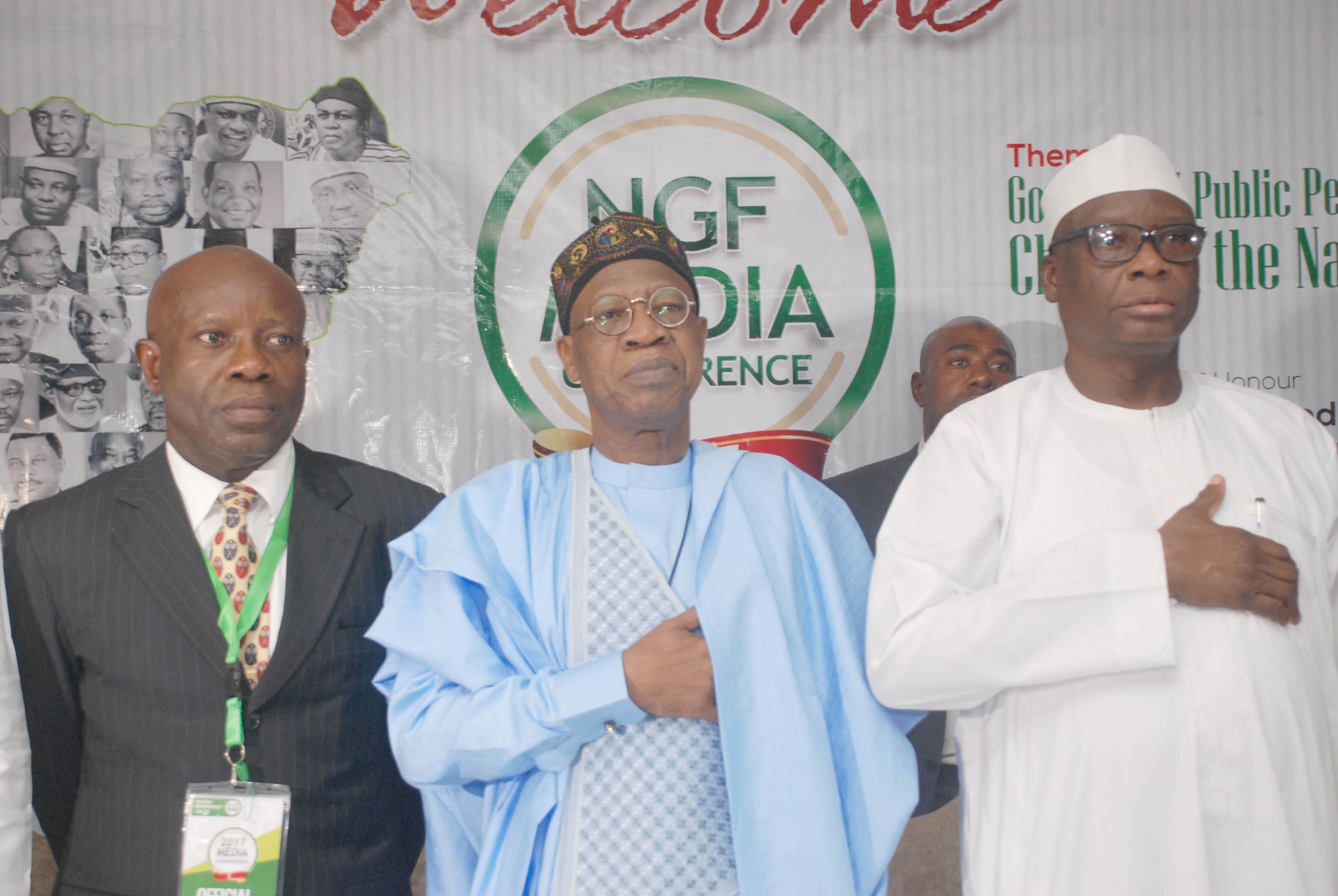 AB Okauru-DG,NGF, Hon. Min. Alh. Lai Mohammed-National Anthem and DG,National Orientation Agency,Dr. Garba Abari